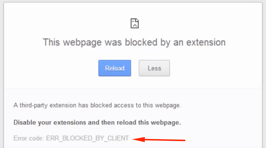 Ошибка err_blocked_by_client